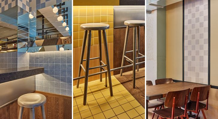 """checkered tiles Ottos burger restaurant Studio Modijefsky indiaartndesign"""