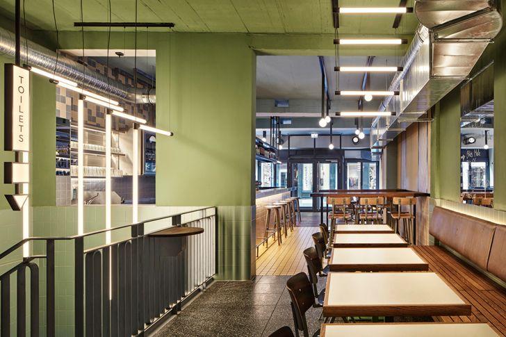 """linear seating Ottos burger restaurant Studio Modijefsky indiaartndesign"""