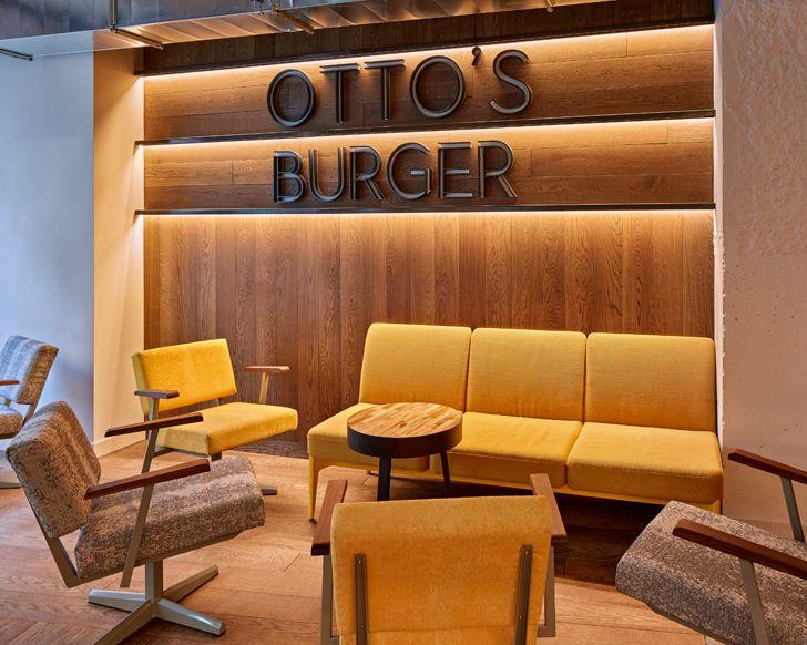 """lounge seating Ottos burger restaurant Studio Modijefsky indiaartndesign"""