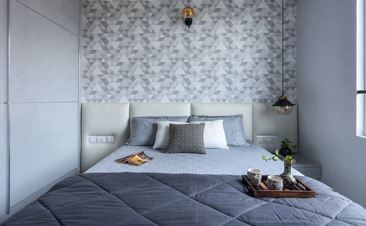 """grey bedroom Bengaluru home InteriorsByRanjani indiaartndesign"""