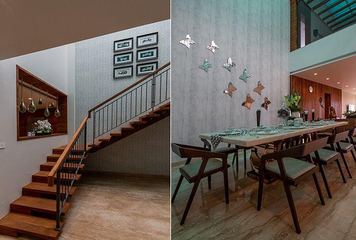 staircase dining luxurious pune residence DesignersGroup indiaartndesign