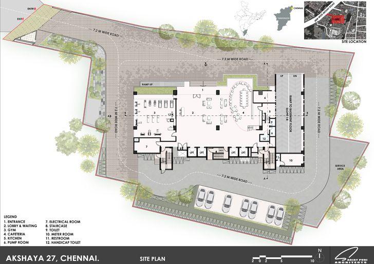 site plan office building Chennai AkayaGroup SanjayPuriArchitects indiaartndesign